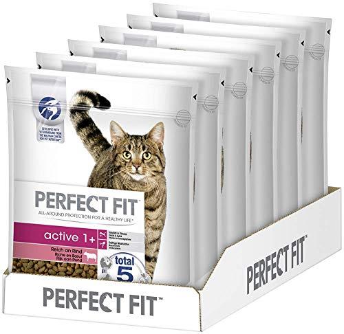 Perfect Fit Active 1+ – Trockenfutter für erwachsene, aktive Katzen ab 1 Jahr – Reich an Rind – Unterstützt die Vitalität – 6 x 750 g