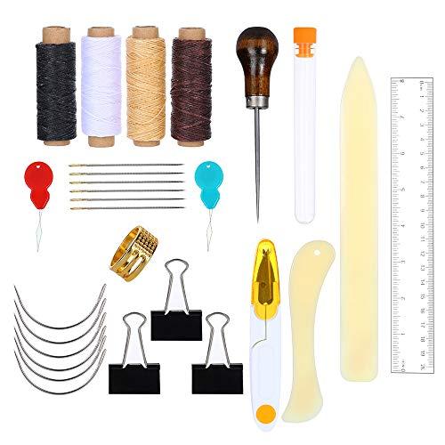 Siumir Buchbinden Werkzeuge Kits Nähen Werkzeug Einschließlich Wachsfaden Groß-Augen-Nadel Gebogene Nadel Nadeleinfädler Holzgriff Ahle für Leder, DIY Buchbinderhandwerk (28 pcs)