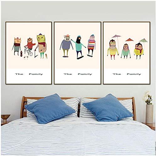 Terilizi Moderne kunst Scandinavische stijl canvas foto's dieren familie spelen schilderij druk mode cartoon wanddecoratie kinderen room-40 * 60 cm niet ingelijst-3 stuks