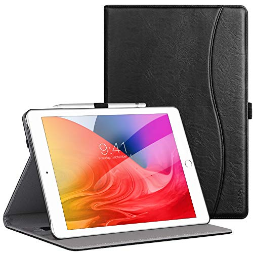 Ztotops Case for iPad 10.2 2019(7th Generation),Premium PU Leather Business Stand Folio Cover,with Pencil Buckle,Multi-angle,Pocket and Auto Wake/Sleep Function for iPad 7th Generation 2019,Black
