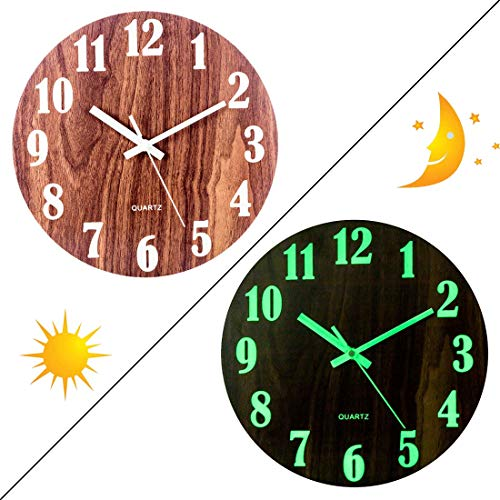 PeleusTech 12 Inch Night Wall Clock for Bedroom- Modern Silent Wood Battery Operated Wall Clock - Glows in The Dark -