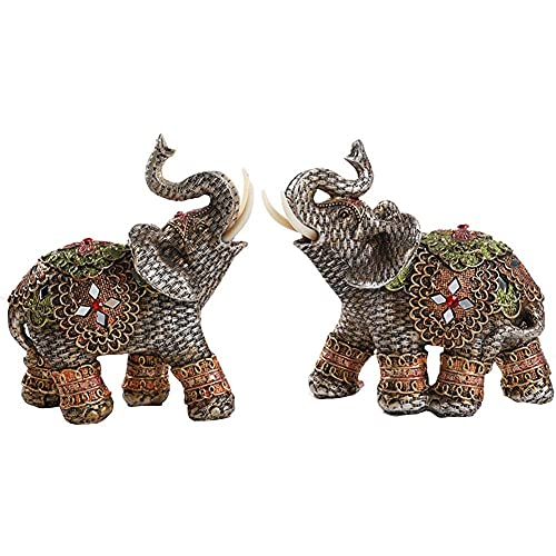 Harz Elefant Figur Statue Skulptur, Feng Shui Reichtum Wohlstand Ornament, Glück Wohnkultur Einweihungsgeschenk Glückwunschgeschenk, Set