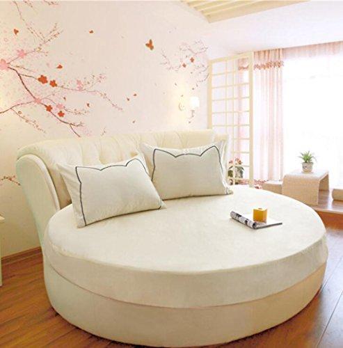 Wmshpeds Cama redonda de algodón de una sola pieza de ropa de cama de algodón ropa de cama colchas de cama redonda tapa protectora de color sólido