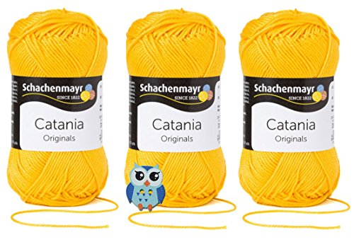 Schachenmayr Catania Wolle 3x50 Gr, 100% Baumwolle + 1 Eulen Knopf (Farbreihe 200-299) (208 Sonne)