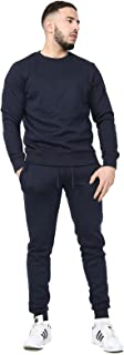 Mens Plain Crew Neck Fleece Slim Fit Tracksuit Pullover Jumper Sweatshirt Bottom Jogging Jogger Running Activewear