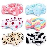 Spa Headband – 6 Pack Bow Hair Band Women Facial Makeup Head Band Soft Coral Fleece Head...