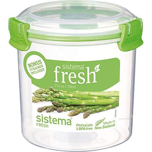 Sistema Vorratsdose 700 ml mit Siebeinsatz, Plastik, Transparent/grün, 11.5 x 11.5 x 11.4 cm