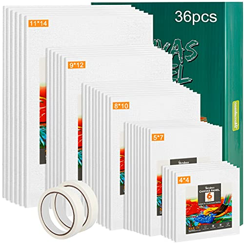 Homaisson Canvas Boards for Painting: 4x4 5x7 8x10 9x12 11x14 Inches Set of 36 Canvas Panels 100% Cotton Primed White Artist Canvas with Masking Tape for Acrylic Oil Paint (36PCS+Masking Tape)