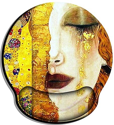 Musmatta med designat utsökt mönster, anti-trötthet musmatta med bekvämt handledsstöd, musmatta handledsstöd -Gustav Klimt Golden Tears Kiss