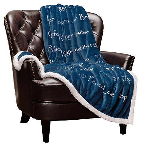 Chanasya Healing Compassion Warm Hugs Gift Throw Blanket - Sympathy Gift Cancer Chemo Survivor Get Well Caring Gifts - Comfort Gift Blanket for Love Support Strength - Women Men Friend Grandpa - Blue