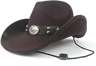 JAUROUXIYUJI New Fashion Women Men Wool Hollow Western Cowboy Hat for Gentleman Lady Sombrero Cap Dad Fedora Hat (Color : Brown, Size : 56-59cm)