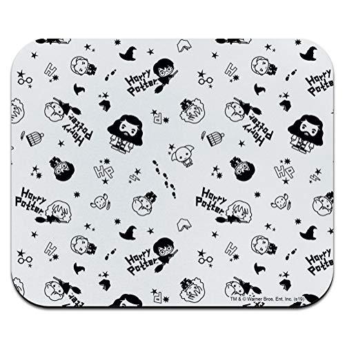 Harry Potter Black and White Chibi Pattern Low Profile Thin Mouse Pad Mousepad