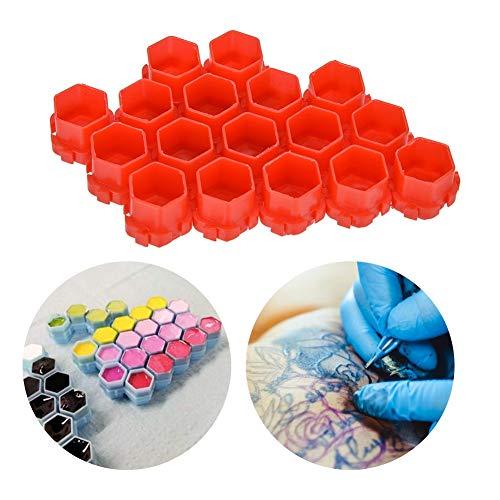 Tasses d'encre de tatouage en forme de nid d'abeille, tasses de support de pigment 200pcs tatouage Splicable petit récipient de pigment Fournitures de tatouage pour les a(rouge)