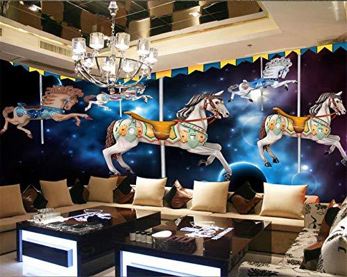 Papel Pintado 3D Carrusel Dibujos Animados Habitación Para Niños Tv Pared Sala De Estar Fondo De Pantalla Para Paredes 3 D Wgop-350cmx245cm