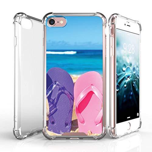 turtlearmor | Kompatibel für Apple iPhone 7Fall | (11,9cm) [Flexible Armor] Ausgestattet Ultra Slim Flexibel TPU Hülle Case Klar Schock Displayschutzfolie Beach Design -, Sandal Flipflops
