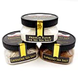 Dessert Toppers Sea Salt Collection 3-Pack: Espresso, Lavender, Fleur de Sel - The Gourmet Way to Add Savory Flair to Your Sweets - Non-GMO, Gluten-Free, No MSG (12 total oz.)