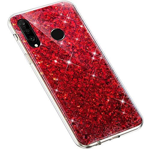 Uposao Huawei P30 Lite Coque Glitter de Luxe,Bling Gliter Strass Paillettes Coque Transparent Cristal Scintilla Silicone TPU Souple Housse Etui de Protection Coque pour Huawei P30 Lite,Rouge