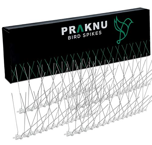 Praknu Taubenabwehr Spikes aus Edelstahl 600cm Effektiv - 15 Leisten x 40cm mit Klickverschluss 4 Reihig