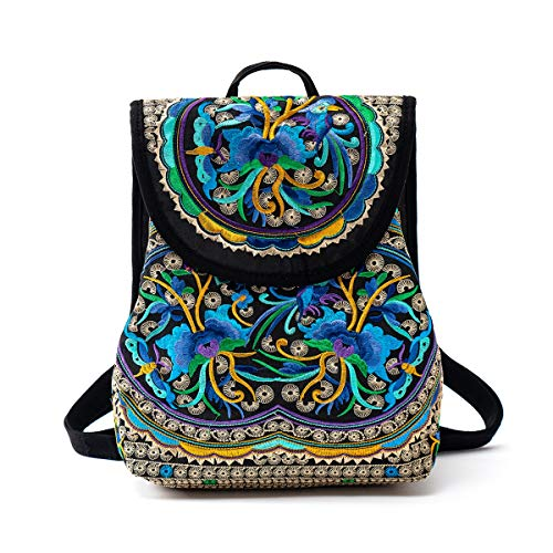 surrylake Embroidered Backpack Purse for Women Vintage Boho Bags Casual Travel Shoulder Bag Small Drawstring Backpacks -  Blue -  Medium