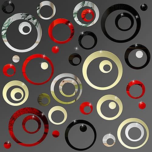96 Adesivi Murali a Specchio Cerchio in Acrilico Decalcomanie a Specchio a Punti Tondi Decalcomanie da Parete Rimovibili Multicolori Decorazione Murale a Specchio Fai da Te Rotondo