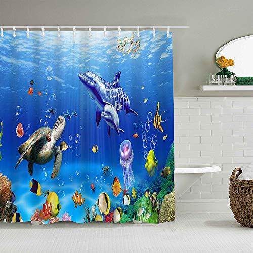 AIKIBELL Personalisierter Duschvorhang,Ozean Unterwasser Meerestiere Meereswelt Tiere Tropischer Fisch Delphin mit Schildkröten Koralle,wasserabweisender Badvorhang für das Badezimmer 180 x 180cm