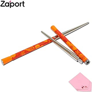 Zaport ECO Tableware Magnetic Chopsticks Pattern (Comes W/ BoxCave Microfiber Cleaning Cloth) (Orange)