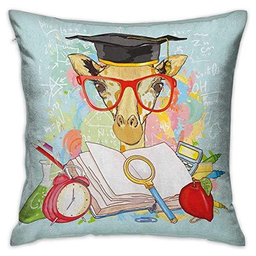 Funda de almohada de viaje cuadrada de graduación Hipster Jirafa Animal con gafas y gorra Geek Estudiante en educación Escuela Fundas de cojín multicolor Fundas de almohada para sofá Dormitorio Coche