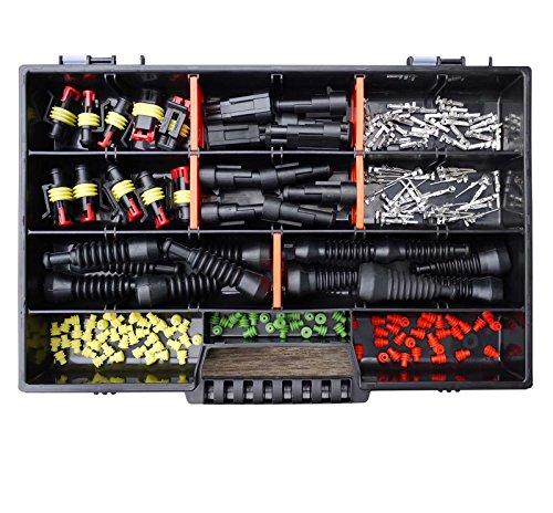 AMP Superseal 2-polig und 3-polig 0,75mm²-1,50mm² Sortimentskasten mit Gummitüllen Stecker Steckverbinder Elektrik KFZ Motorrad LKW QUAD