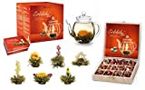 Creano Tea Flowers Mix - Set Regalo 'Flowoming Tè' con Teiera in Vetro + 12 Fiori di Tè in scatola di Legno in 6 Varianti | Tè bianco