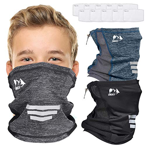OMDEX 3 Pack Kids Neck Gaiter Mask with Filter and Drawstring Adjustable Breathable Face Cover UPF 50 Sunprotection Lightweight for Women Boys Girls.
