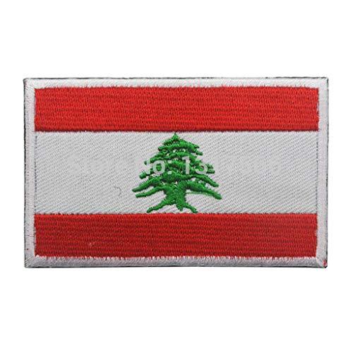 ShowPlus Aufnäher mit Libanon-Flagge, Militär, bestickt, taktischer Aufnäher (Libanon)