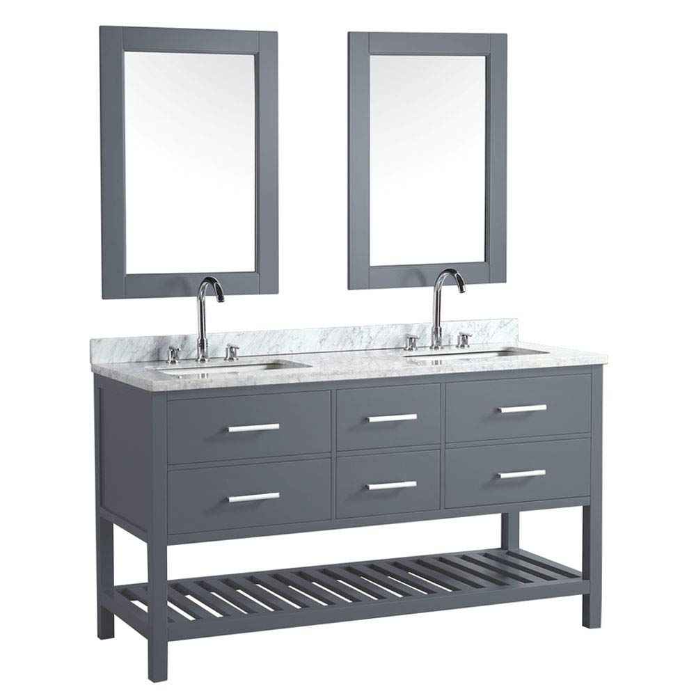 Luca Kitchen Bath Lc61bgw Valencia 61 Double Vanity Set In Gray With Carrara Marble Top Sink And Mirror Buy Online In India At Desertcart In Productid 122277174