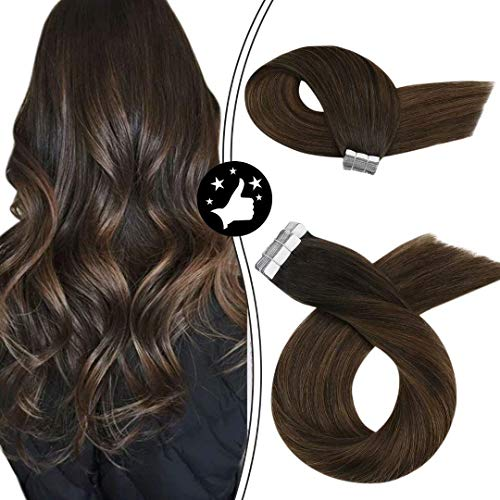 Moresoo 14 Pulgadas Extensiones de Cabello Balayage Tape in Hair Colored Hair Marron Oscuro #2 Ombre to Marrón #6 Highlighted with #2 100% Real Remy Human Hair Adhesivo Extensiones 20pcs/50g