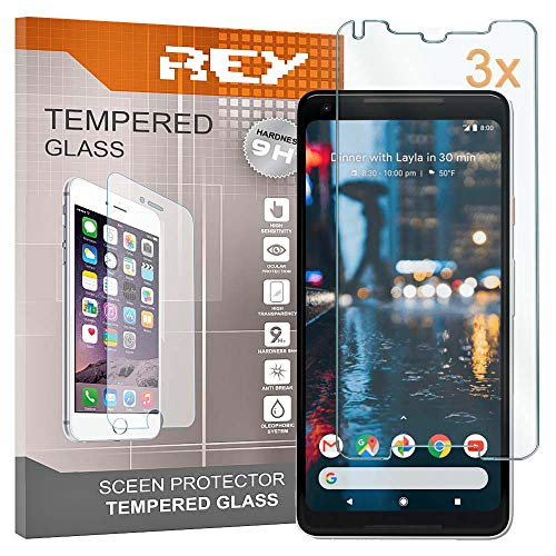 REY Pack 3X Panzerglas Schutzfolie für Google Pixel 2 XL/Pixel 2XL, Bildschirmschutzfolie 9H+ Festigkeit, Anti-Kratzen, Anti-Öl, Anti-Bläschen