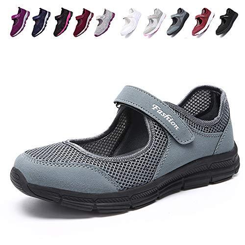 [JIAFO] 安全靴レディース スニーカー 介護シューズ 高齢者シューズ マジックテープ 通気性 柔軟性 軽量 メッシュ 中高齢者靴 ママシューズ 疲れにくい 滑り止めお母さん 婦人靴 看護師(22.5cm~26.0cm) (24.5cm, ダークグレー