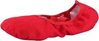staychicfashion Women's Canvas Ballet Slippers Practice Yoga Flat Shoes Split Belly Shoes(9, Red Band)