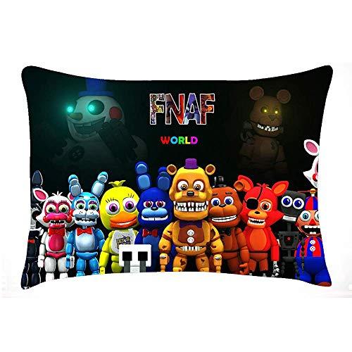 Caswyy FNAF Five Nights at Freddy'S Fundas de Almohada con Cremalleras Ocultas para Dormitorio y salón, Suaves y cómodas, Antiarrugas, Que no se decoloran, Resistentes a Las Manchas
