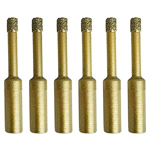 Fransande - 6 brocas para sierra de diamante, 6 mm, 1/4 pulgadas, de ceramica diamante, sierra con agujero, apto para azulejos de ceramica, porcelana, mármol y piedra roca