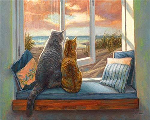 Schilderen op nummer-kits DIY canvas kleur voor volwassenen kinderen beginners - twee katten zitten op de vensterbank tekening met kwasten kerstdecoratie decoraties geschenken 16 x 20 inch (geen lijst)