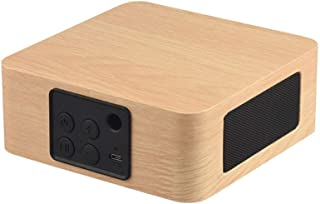 Wooden Bluetooth Portable Speaker, Bluetooth Speaker Dual Speaker Wood Subwoofer Music Mini Bluetooth Speaker,Beige photo