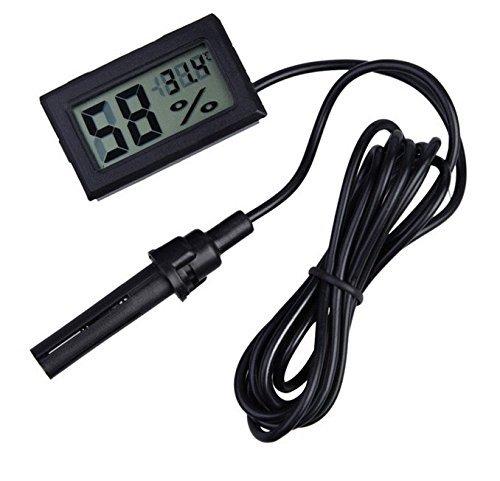 WINGONEER 2-in-1 Digital LCD Integrato termometro igrometro con Esterno per Rettile incubatore Acquario Pollame - Nero