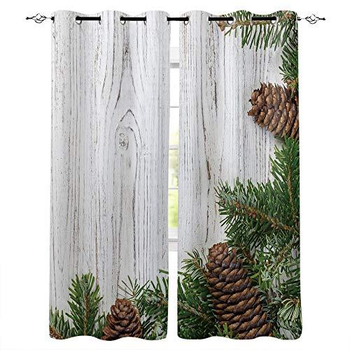 LWXBJX Cortinas Opacas Salon Habitación Aislantes Térmicas - Verde planta pino veta de madera - Impresión 3D...