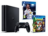 PS4 Slim 1Tb Negra Playstation 4 Consola - Pack 2 Juegos - FIFA 18 + Crash Bandicoot...