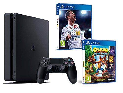 PS4 Slim 1To Noir Playstation 4 Pack 2 Jeux! FIFA 18 + Crash Bandicoot N.Sane Trilogy