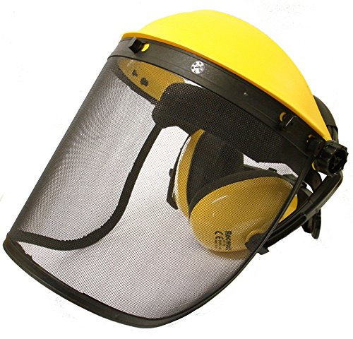 Protector facial con visera de malla y con protectores auditivos