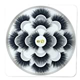thanksky 7 Pairs 25mm Lashes, 8D Mink Eyelashes,Eye Makeup Tools, Handmade Cruelty-free Wispy Fluffy Hair Lashes(8D-017)