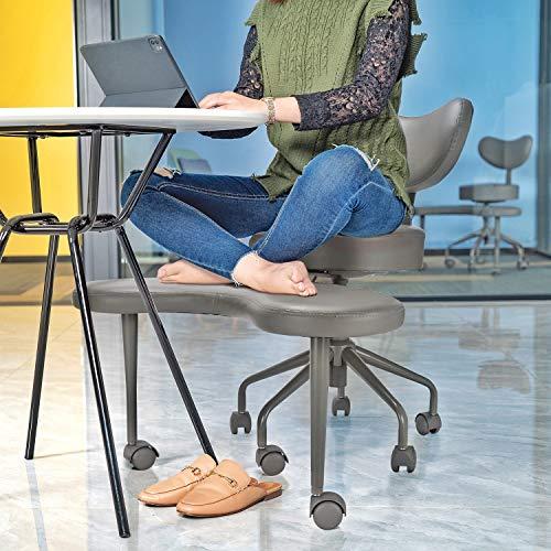 Pipersong Asiento de meditación, silla de escritorio ergonómica de oficina en el hogar, silla de piernas cruzadas con soporte lumbar, altura del asiento ajustable, gris