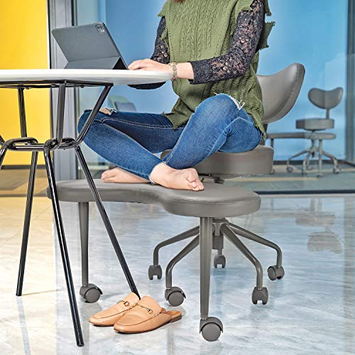 Pipersong Meditation Chair, Home Office Desk Chair, Cross Legged Chair with Back Support and Adjustable Stool, Ergonomic Design for Multiple Sitting Positions, Grey