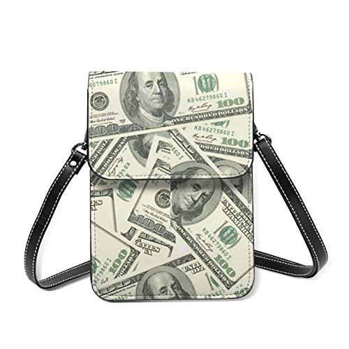 Monedero para teléfono móvil para mujer Dólares estadounidenses Cartera para teléfono móvil de cuero para mujer Bolso bandolera Mini bolsos pequeños de hombro Bolsos ligeros con correa ajustable para