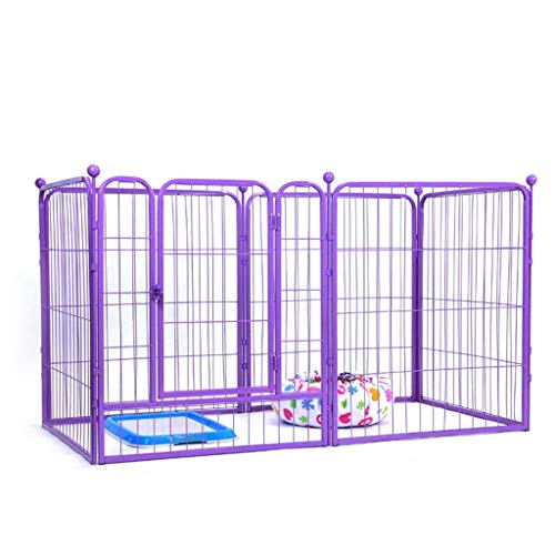 Tall XL Foldable Metal Wire Exercise Pen/Pet Playpen For Dog, Purple Modular Box Kennel, Outdoor Heavy Duty Animals Fence (Size : M 140 * 70 * 80CM)